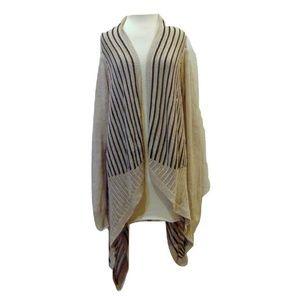 Josie Natori long open front cardigan open weave